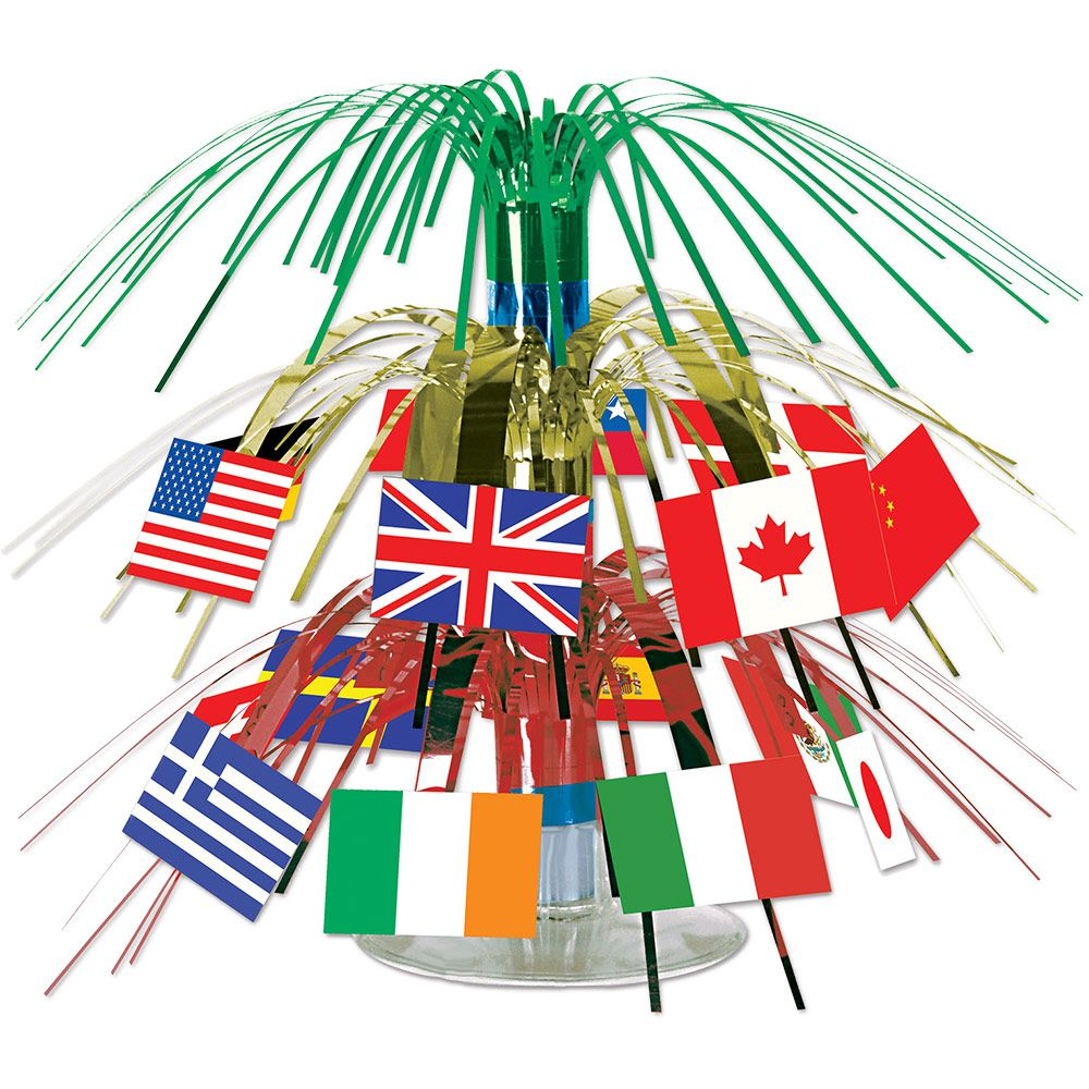 "International Flag 7 1/2"" Cascade Centerpiece (Each) - Party Supplies"