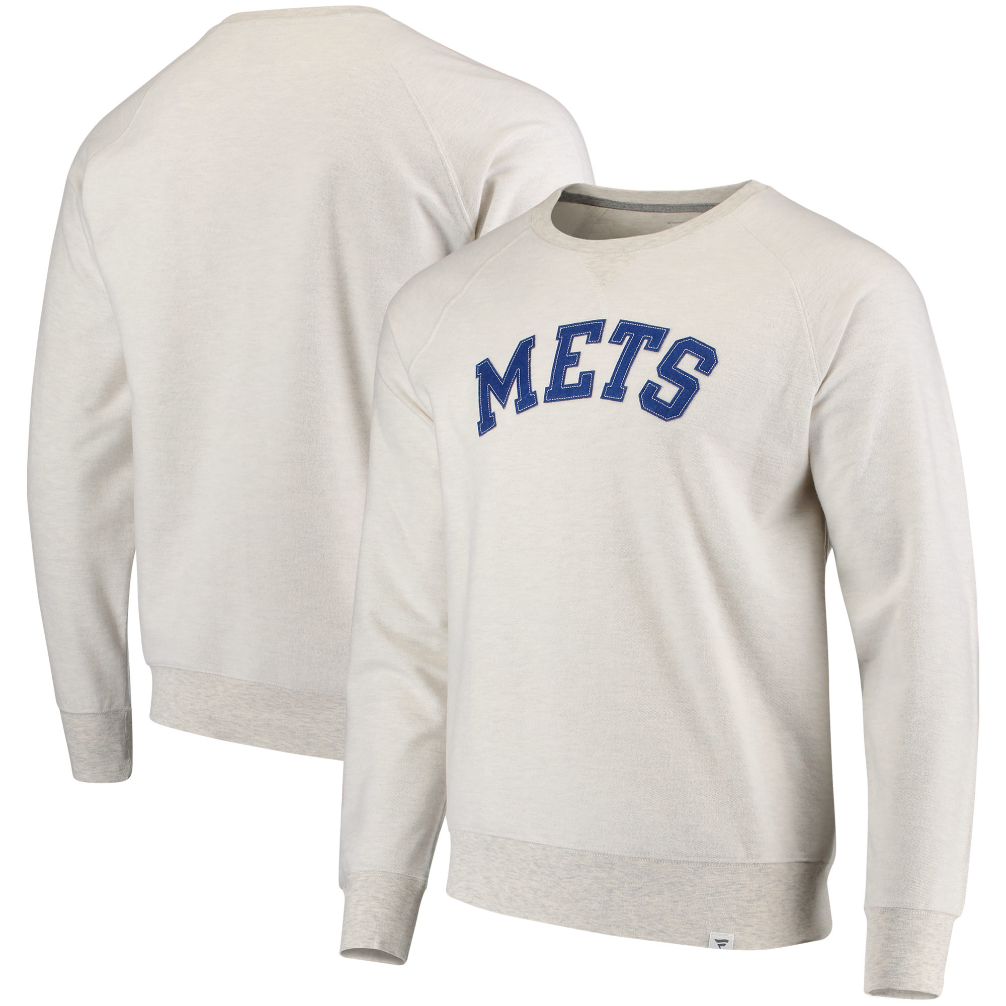 Men's Fanatics Branded Cream New York Mets True Classics French Terry Pullover Sweatshirt