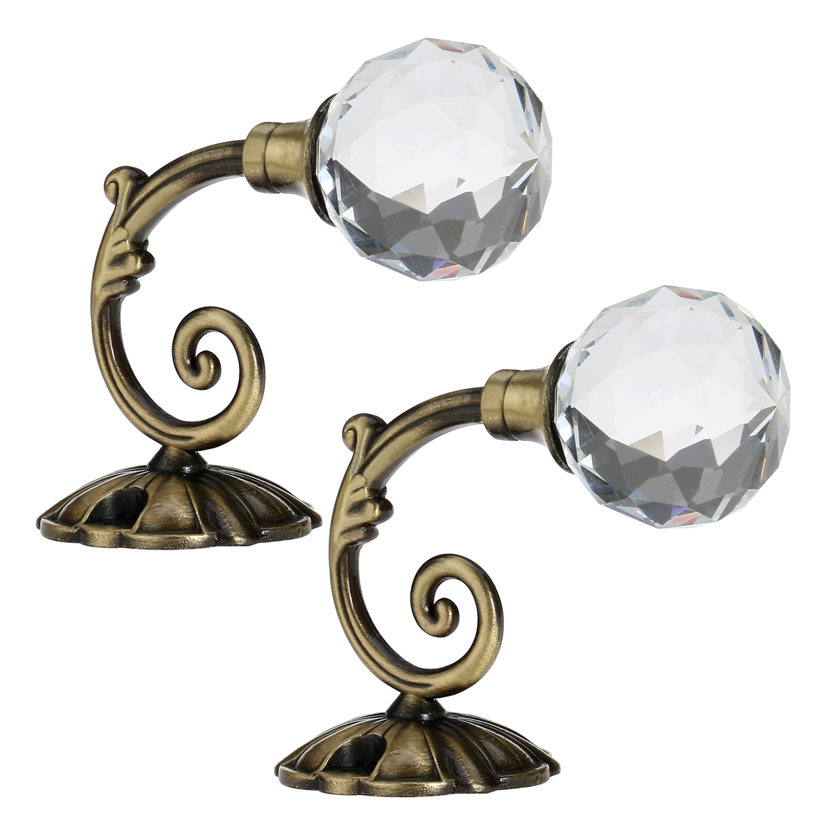 WINOMO 2pcs Crystal Ball Curtain Hookback Wall Mount Metal Curtain Holdback Tieback Hooks (Bronze)