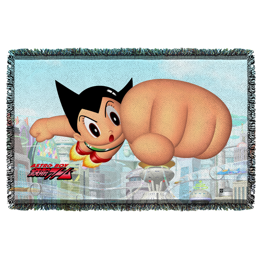 Astro Boy City Boy Woven Throw White 48X80