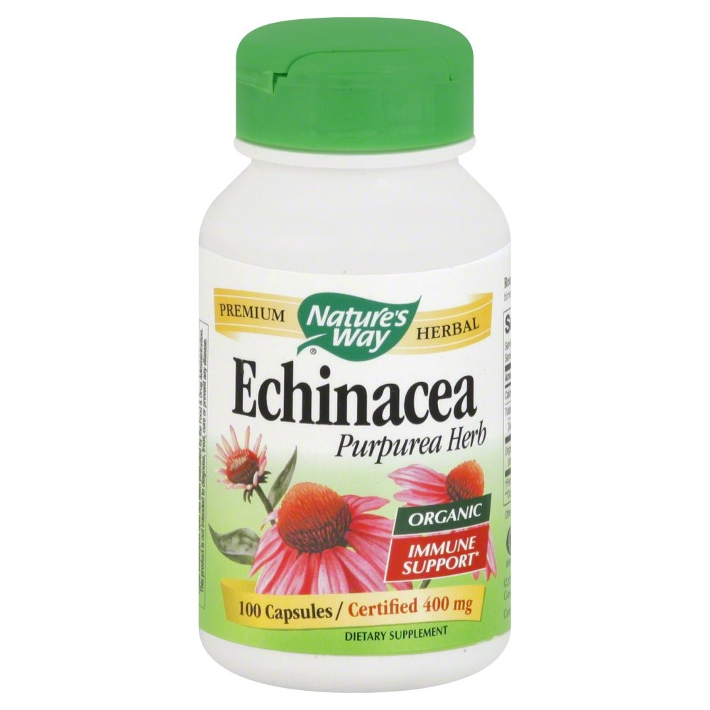 Nature's Way Organic Premium Herbal Echinacea, Purpurea Herb, 100 Ct