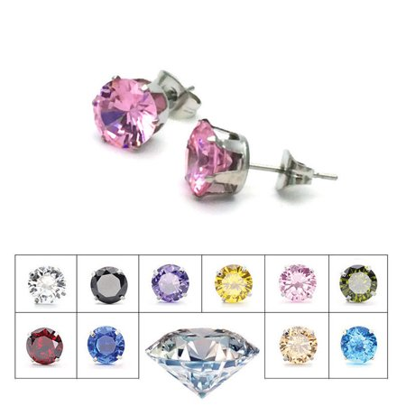 Zodiac Gemstone Earrings - Stainless Steel Any Color Crystal Gem Luxury Fashion Stud Design Womens Earrings (Black)