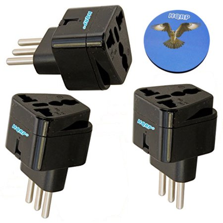 Great Britain Adapter Plug - HQRP 3-Pack Black International Travel Grounded Adapter Plugs - USA / European / Great Britain to Italy + HQRP Coaster