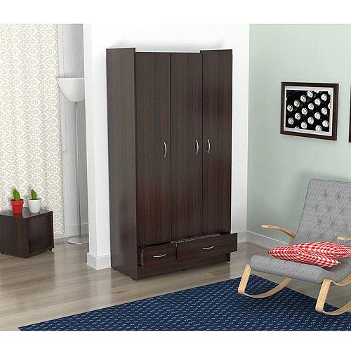 Inval Three Door 2 Drawer Wardrobe Armoire, Espresso-Wengue Finish by Inval