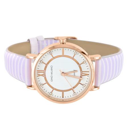 Rose Gold Tone Watch Gino Milano Zebra Stripe Leather Band Analog Quartz Brand New Gold Tone Rose Wrist Watch