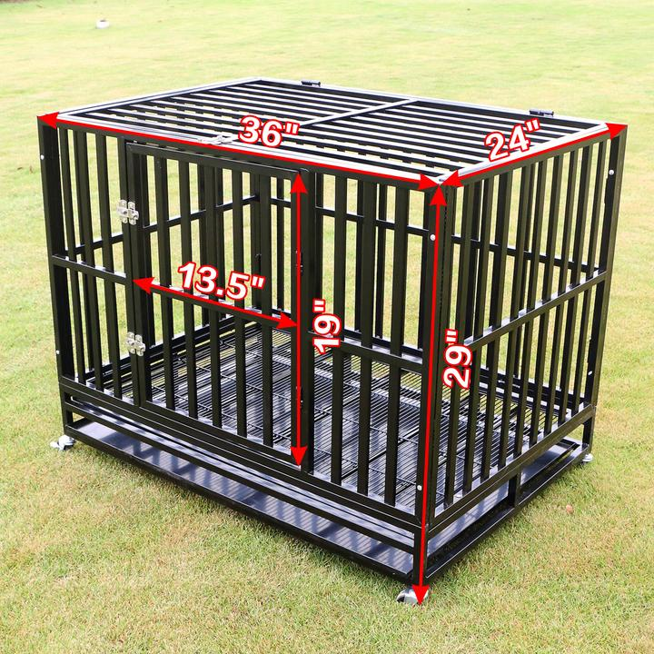 37'' 42'' 48'' Square Tube Heavy Duty Dog Cage Large Crate Pet Kennel W Tray Black by