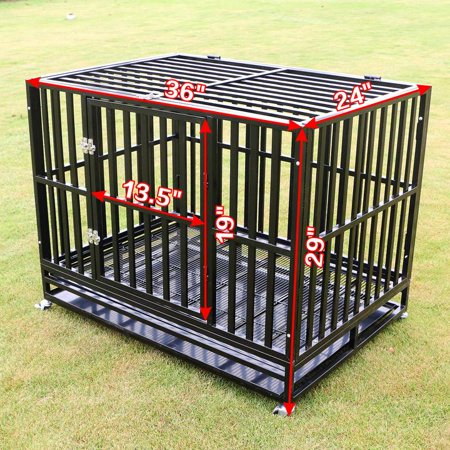 37''/42''/48'' Square Tube Heavy Duty Dog Cage Large Crate Pet Kennel W/Tray