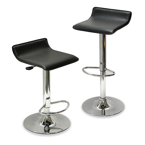 Backless Airlift Adjustable Stool, Set of 2, Black