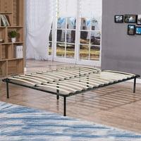 Bed Frame Wood Platform Bed Frame Black Steel Frame With Wood Slat Support, King Size