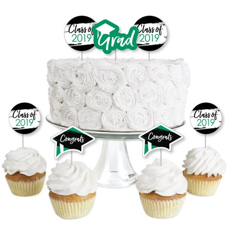 Green Grad - Best is Yet to Come - Dessert Cupcake Toppers - Green 2019 Graduation Party Clear Treat Picks - Set of