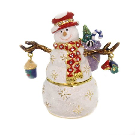 Snowman Hinged Box (Hinged Trinket Box SNOWMAN WITH RED HAT Metal Birdhouse Winter Crystals 3355)