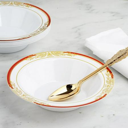 Efavormart 10 Pack | 12 oz Round Disposable Soup Bowl With Gold Vine Design 10 Round Bowl
