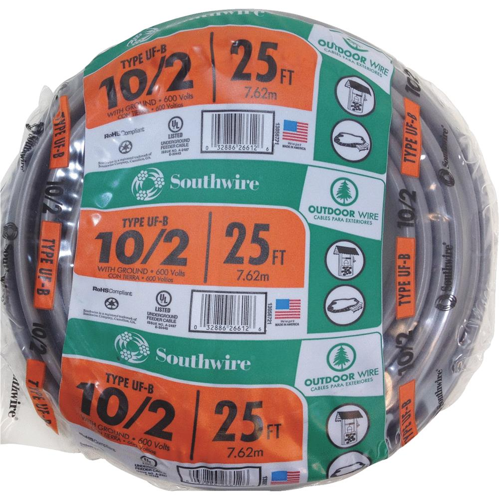 Southwire 25' 10-2 Uf with G Wire 13056721