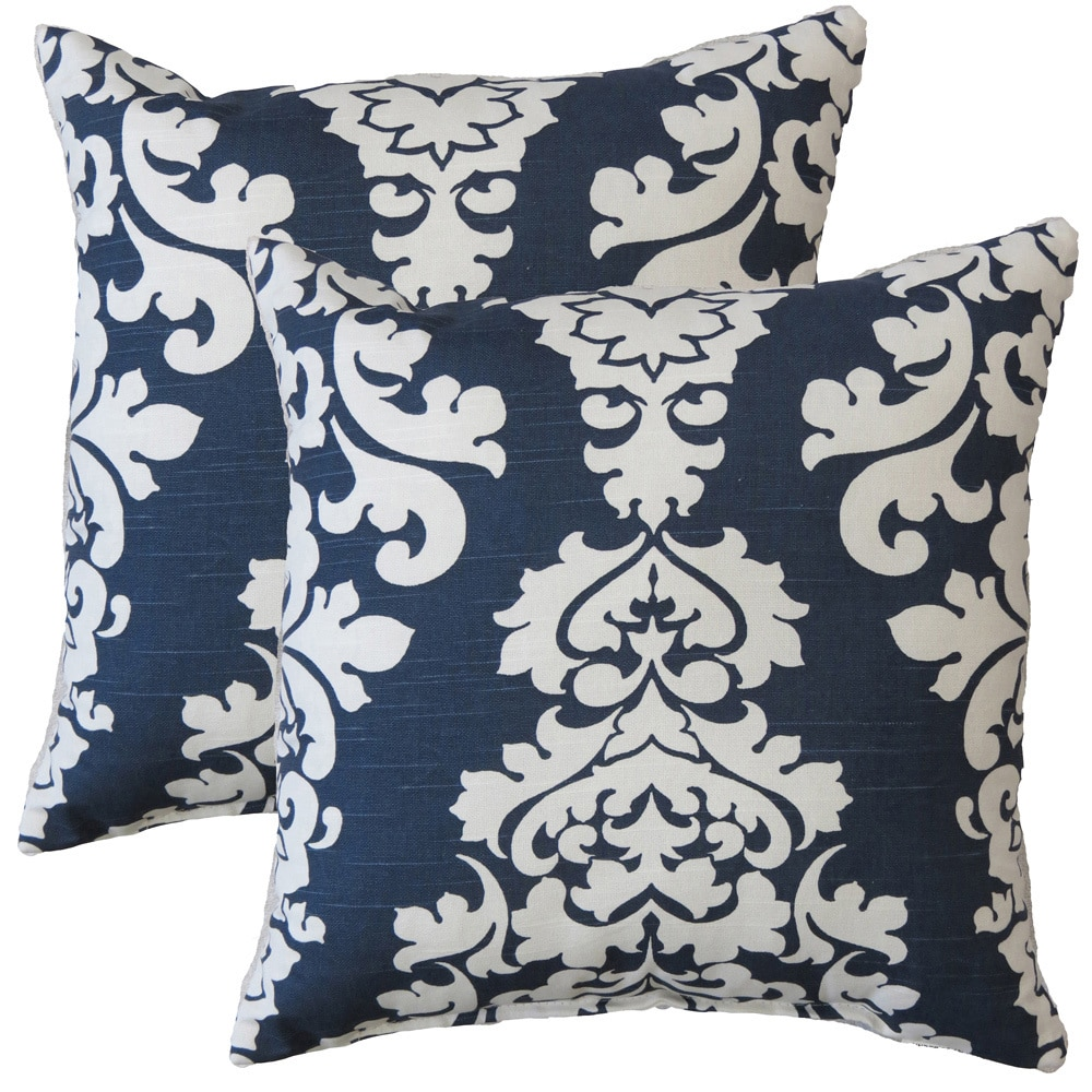 FHT Premiere Home Damask Navy 17-inch Throw Pillow - Set of 2