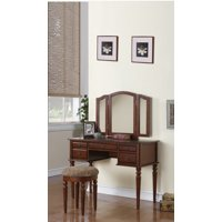 Vanity Set Featuring Stool And Mirror Cherry Brown