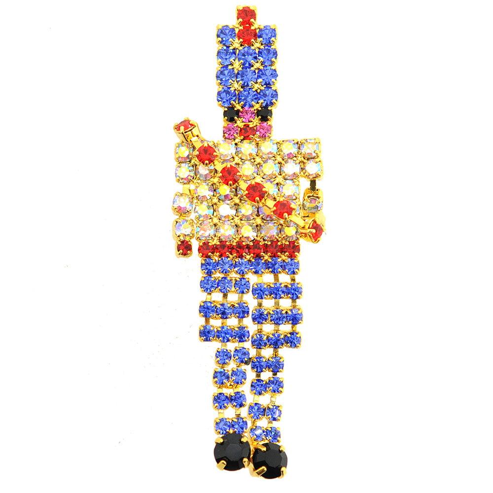 Gold Pixel Christmas Nutcracker Brooch Pin by