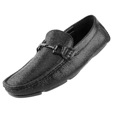 Amali Men's Classic Driving Moccasin A Crackle Metallic Design Matching Bit Driving Shoe