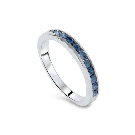 1 carat Treated Blue Diamond Channel Set Wedding Ring 14K White Gold Blue Diamond Channel Band