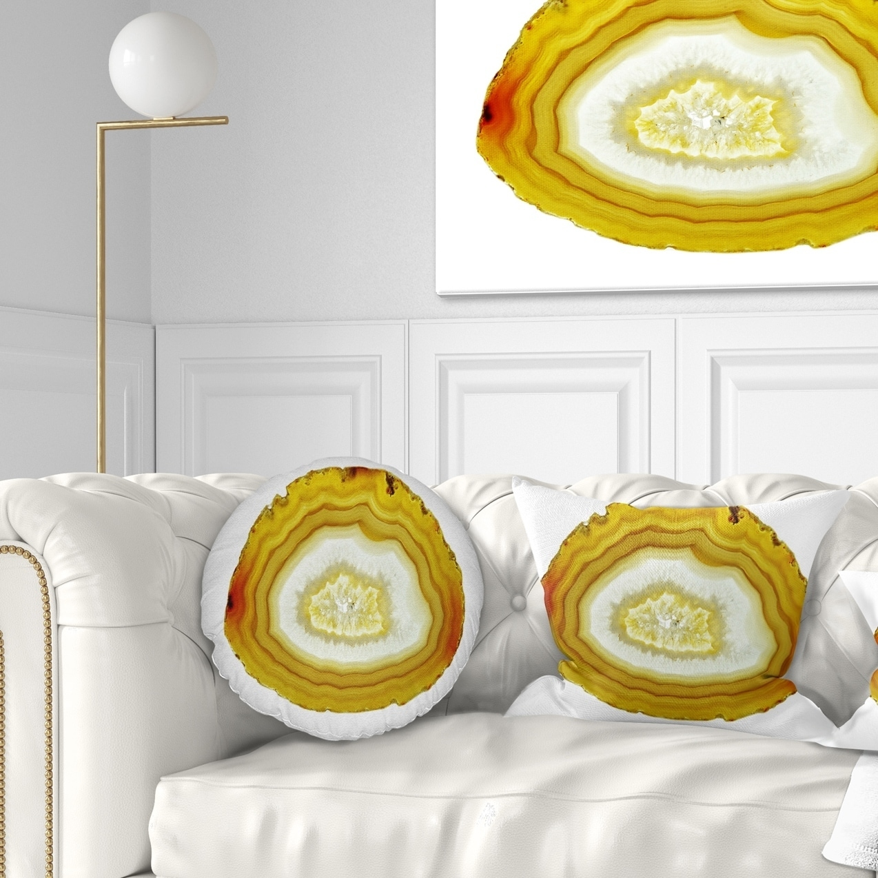 Pillow Insert 26 in Cushion Cover Printed on Both Side Sofa Designart CU14479-26-26 Yellow Agate with Geological Crystal Abstract Throw Cushion Pillow Cover for Living Room x 26 in