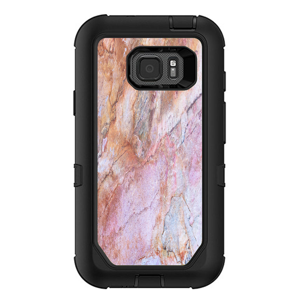Skin Decal For Otterbox Defender Samsung Galaxy S7 Active Case / Rose Peach Pink Marble Pattern