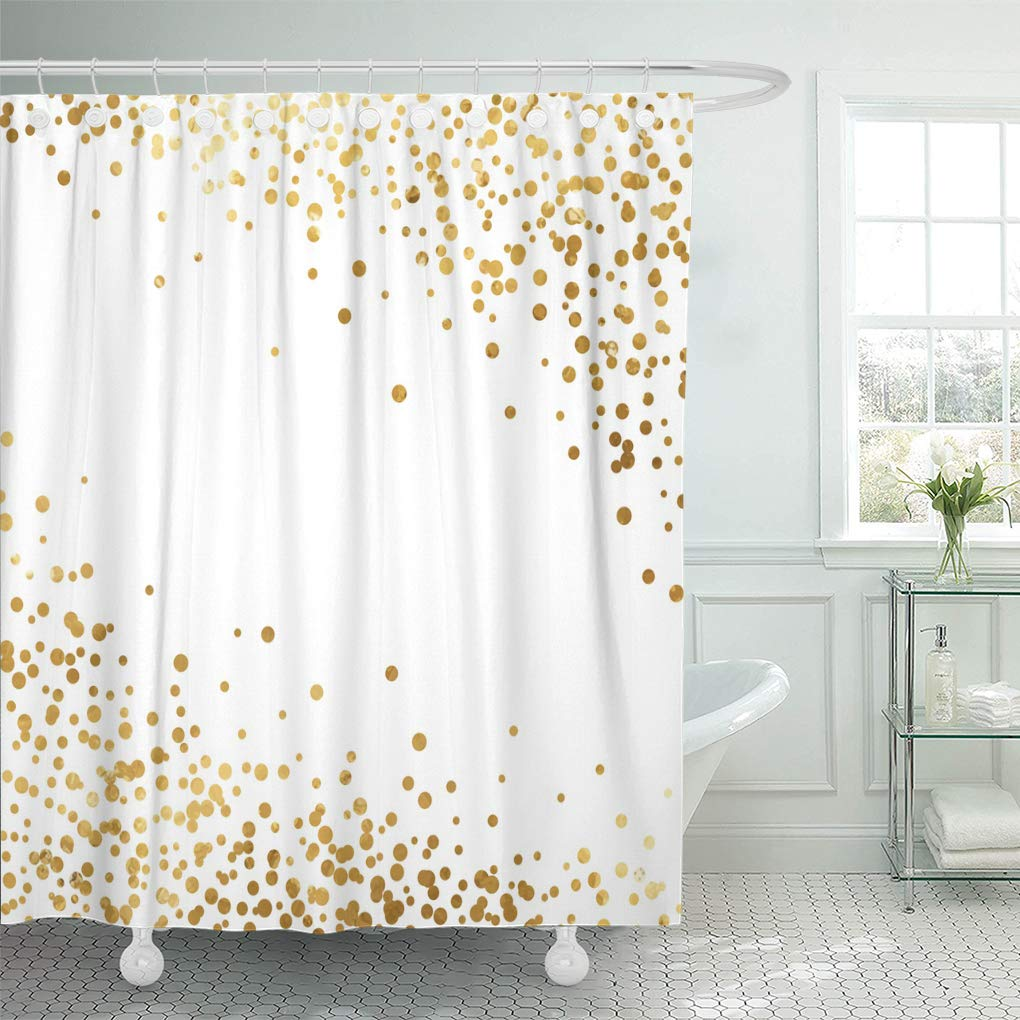 KSADK White Celebration Gold Glitter Polka Dot Yellow Splash Shower Curtain Bathroom Curtain 60x72 inch