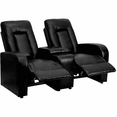 Flash Furniture Leather 2-Seat Home Theater Recliner with Storage Console, Multiple Colors