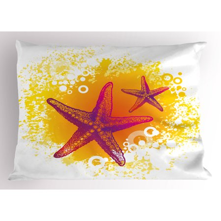 Starfish Pillow Sham Vibrant Colored Tropic Animals and Artistic Bubbles Tranquil Scene, Decorative Standard Size Printed Pillowcase, 26 X 20 Inches, Fuchsia Hot Pink Yellow, by Ambesonne (Colored Bubbles)