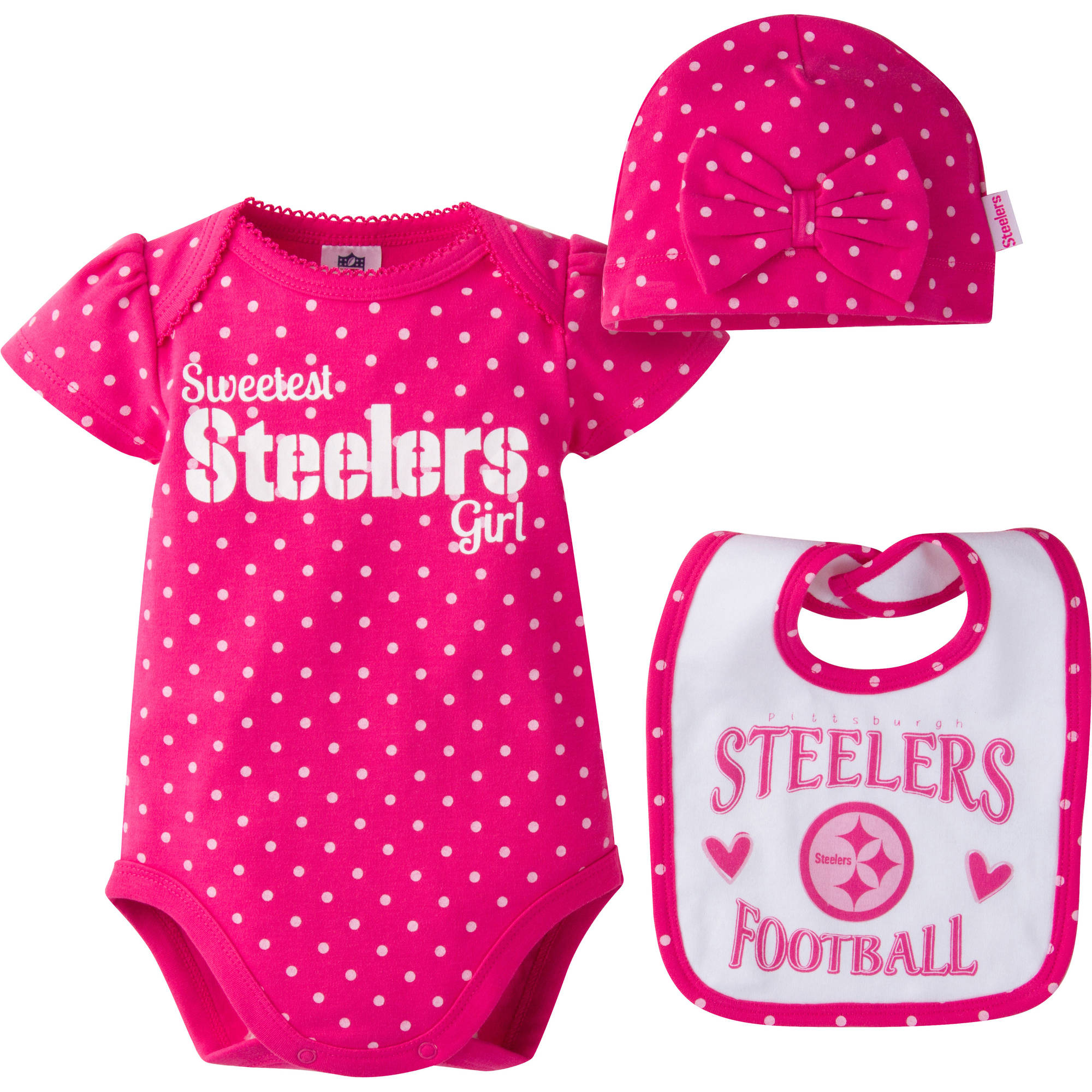 NFL Pittsburgh Steelers Baby Girls Bodysuit, Bib and Cap Outfit Set, 3-Piece