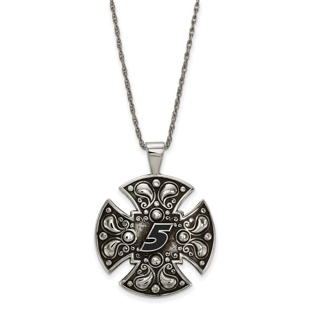 Lex & Lu LogoArt Stainless Steel Large Maltese Cross For Men LAL159687 by
