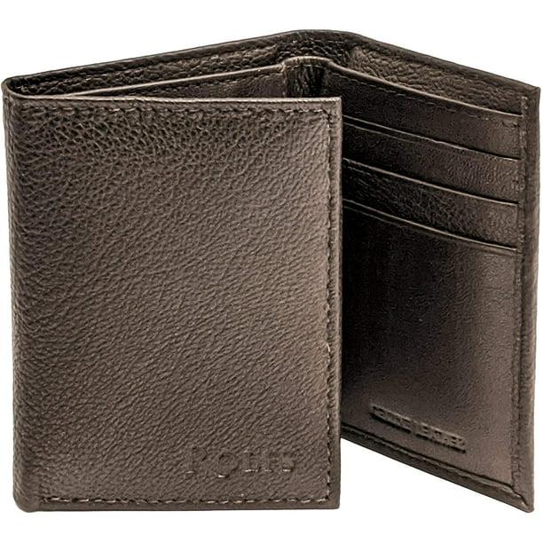 Slim Travel Wallet Suvelle Trifold Men/'s Genuine Leather RFID Wallets