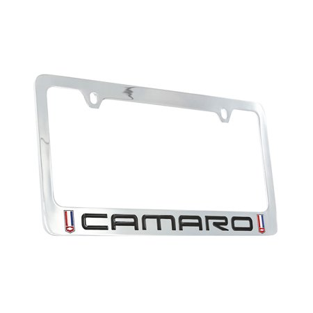 Logo Solid Brass License Plate (Chevy Camaro (1982-2002) Red, White and Blue Logo Chrome Plated Brass License Plate Frame)