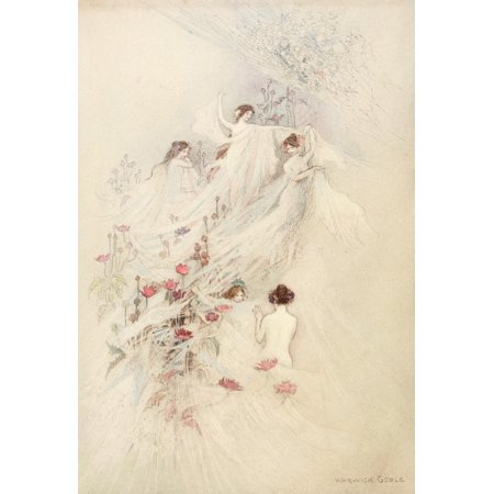 Water Gossamer (The Water-Babies 1909 Ladies all gathered gossamer in Autumn Poster Print by  Warwick Goble)
