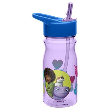 Zak! Designs Tritan Water Bottle with Flip-Up Spout and Straw with Tip & Oh from Home, Break-resistant and BPA-free Plastic, 16.5 oz.
