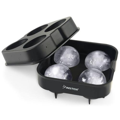 Insten 2-Pack Black Food-grade Silicone 4 Large Sphere Ice Tray Mold