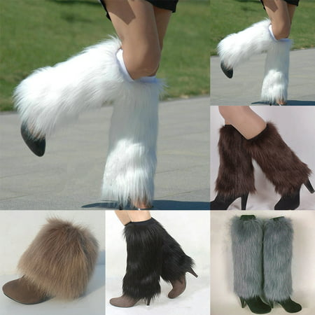 Moderna Winter Fashion Women Boot Covers Furry Solid Color Faux Fur Soft Leg - White Leg Warmers