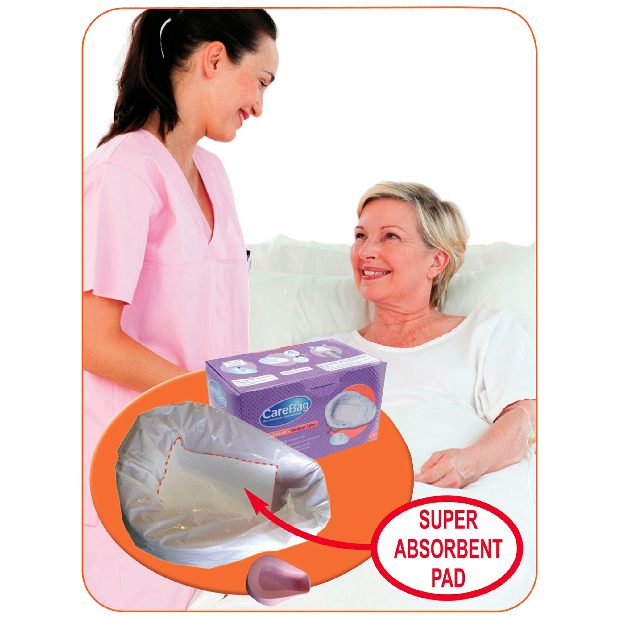 CareBag Bedpan Liner Absorbent Bags, 20 count