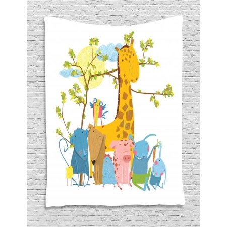 Sitting Pig (Kids Boys Tapestry, Zoo Animals Sitting under a Tree Cartoon Style Giraffe Pig Bunny Monkey and Hen, Wall Hanging for Bedroom Living Room Dorm Decor, 60W X 80L Inches, Multicolor, by Ambesonne)