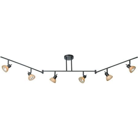 Track Lighting 6 Light Fixtures With Dark Bronze Finish Aluminum Steel Material Gu10 300 Watts