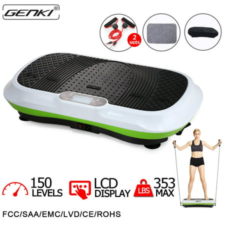 Genki Vibration Platform Fitness Machine Whole Body Exercise with Straps and Romote Control, 150 Levels, 5 Auto (Best Whole Body Vibration Machine)