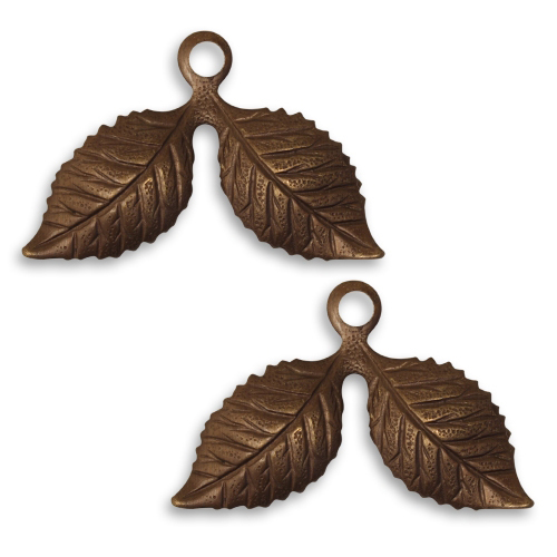 Vintaj Natural Brass Fastenable Cherry Leaf Charms 17x26mm (2)