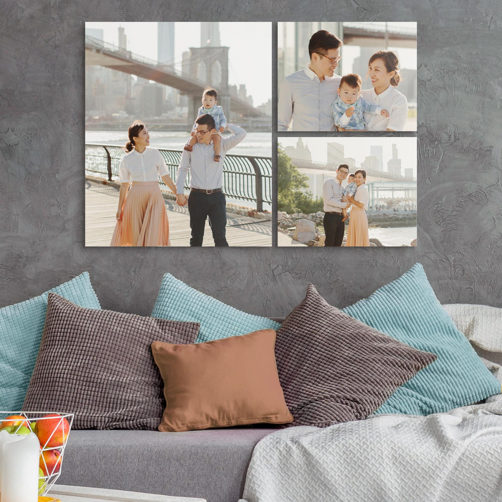 Family Trio Photo Canvas Gallery Wall