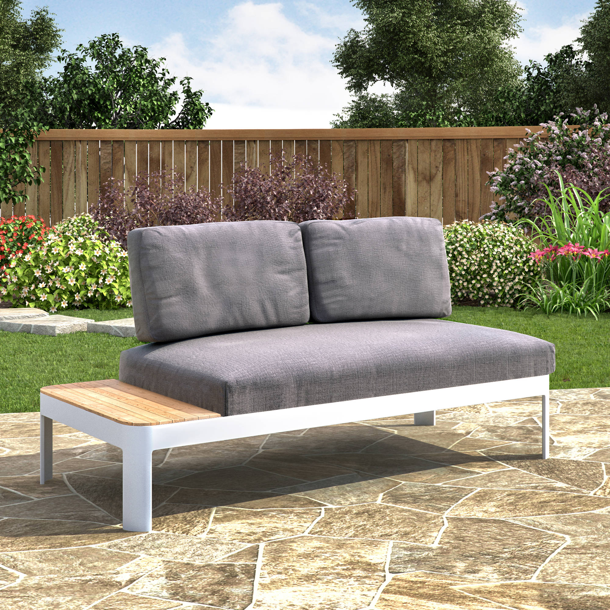 Southern Enterprises Cartella Aluminum Outdoor Convertible Lounger/Modular Loveseat with Cushions, Gray