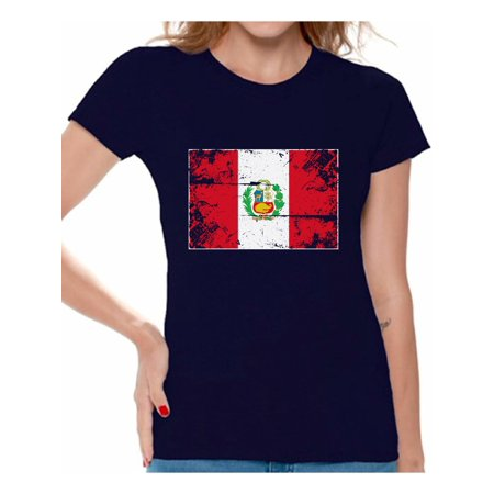 Awkward Styles Peru Flag Shirt for Women Peruvian Soccer 2018 Tshirt Gifts from Peru Flag of Peru Peruvian Women Peru Shirts for Women Peru 2018 Tshirt Peruvian Gifts for Her Peruvian Flag Shirt