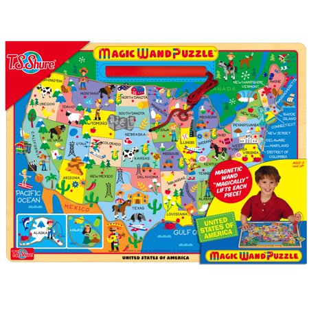 T.S. Shure - Map of the USA Wooden Magnetic Magic Wand - Usa Puzzle Map