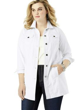 Roaman's Plus Size Long Denim Jacket