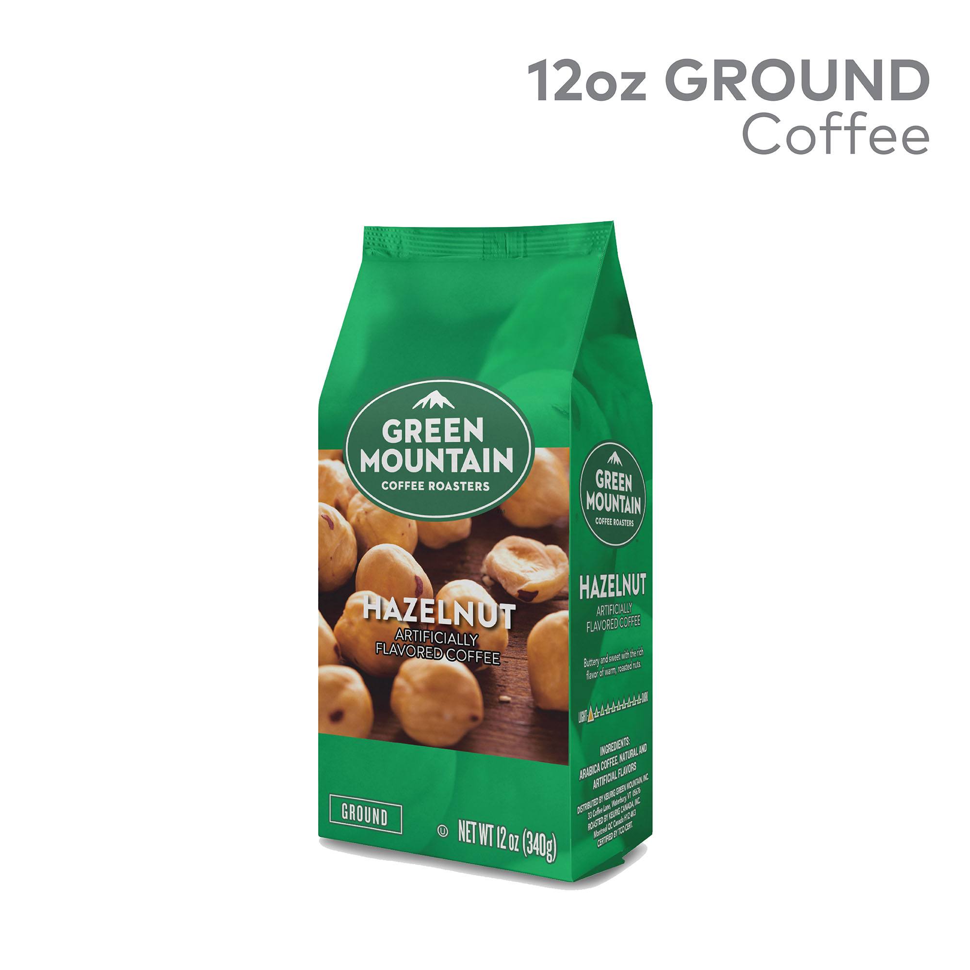 Green Mountain Coffee Roasters, Hazelnut, Ground Flavored Coffee, Light Roast, Bagged 12oz