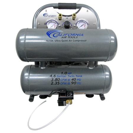 California Air Tools 4610ALFCAD Ultra Quiet & Oil-Free 1.0 Hp, 4.6 Gal. Aluminum Twin Tank Air Compressor