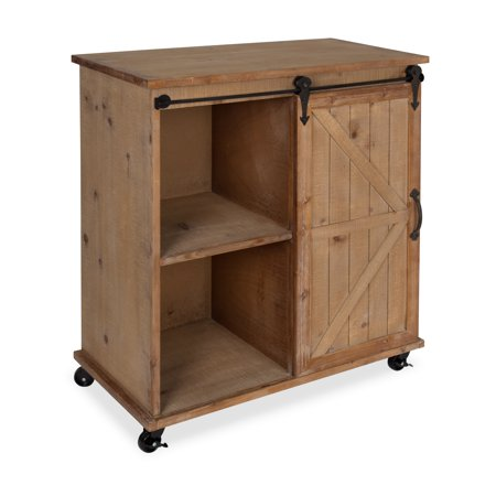 Kate And Laurel Cates Multi Purpose Wooden Rolling Kitchen Cart Storage Cabinet With Sliding Barn Door Rustic Wood Finish