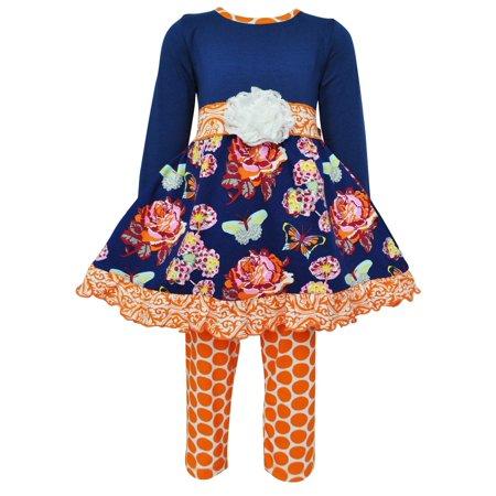 Ann Loren AnnLoren Girls Boutique Autumn Floral Dress and Polka Dot Legging Set