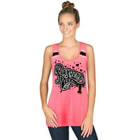 Women's 5th & Ocean by New Era Pink Texas Rangers Racerback Tank Top with Contrast Stripes